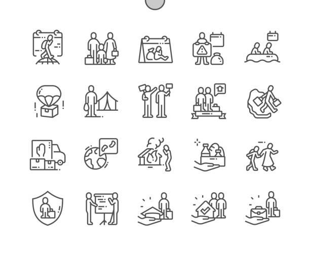 bildbanksillustrationer, clip art samt tecknat material och ikoner med world flyktingdagen välgjord pixel perfekt vektor tunna linje ikoner 30 2x rutnät för webbgrafik och appar. enkelt minimalt piktogram - temporär