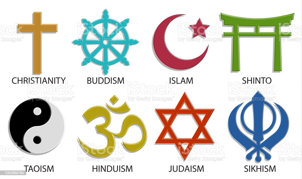World Religion Symbol Icon Set On White Background 3d Vector Color