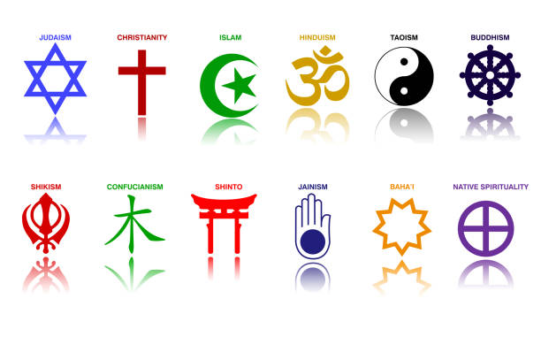 world religion symbols colored signs of major religious groups and religions. world religion symbols colored signs of major religious groups and religions. easy to modify religious symbol stock illustrations