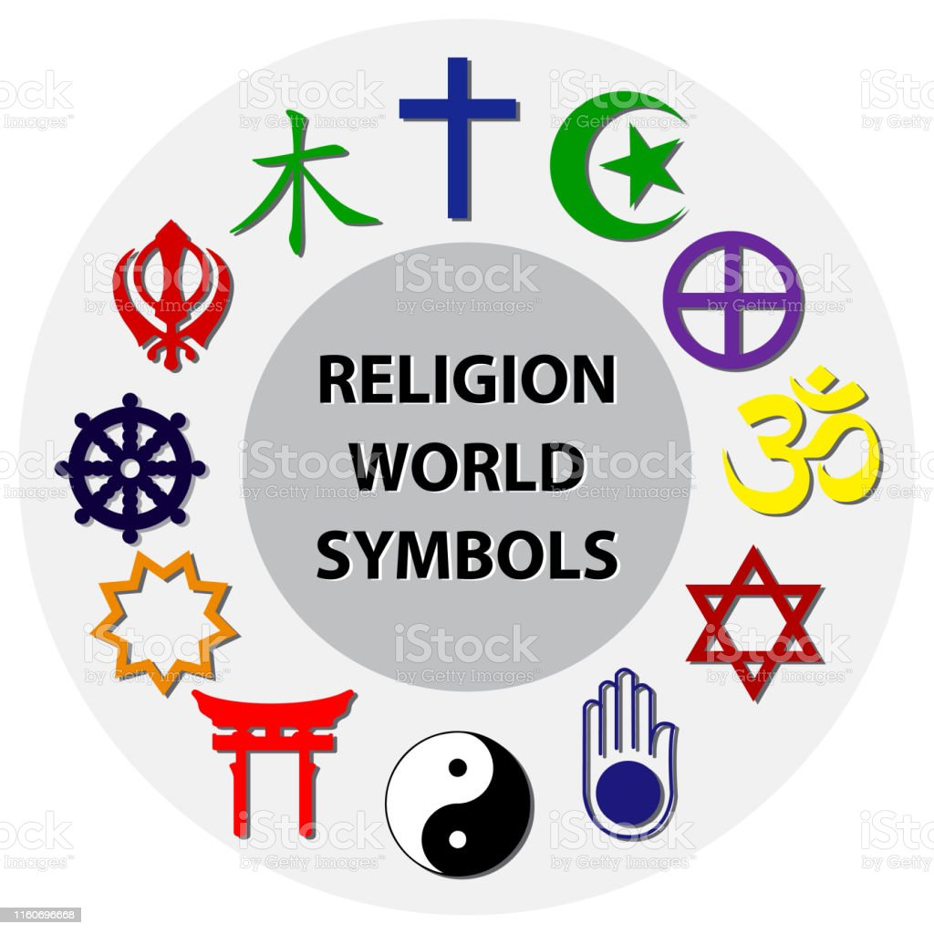 world religion symbols colored signs of major religious groups and...