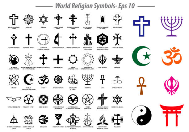 world religion symbols signs of major religious groups and other religions isolated. world religion symbols signs of major religious groups and other religions isolated. easy to modify religious symbol stock illustrations