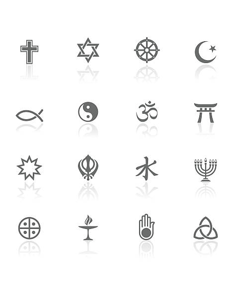 world religions | bw icons - religious symbols stock illustrations, clip art, cartoons, & icons