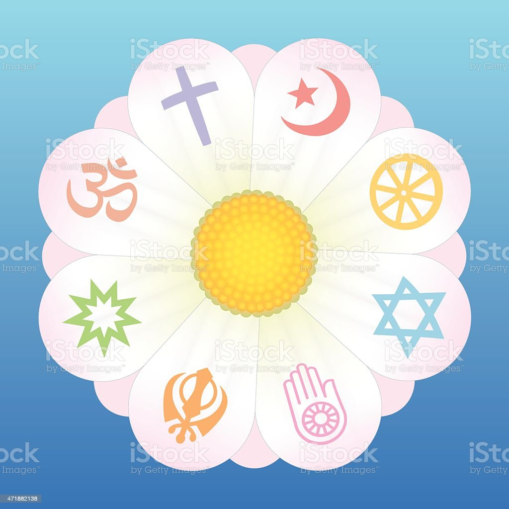 World Religions Flower Symbols vector art illustration
