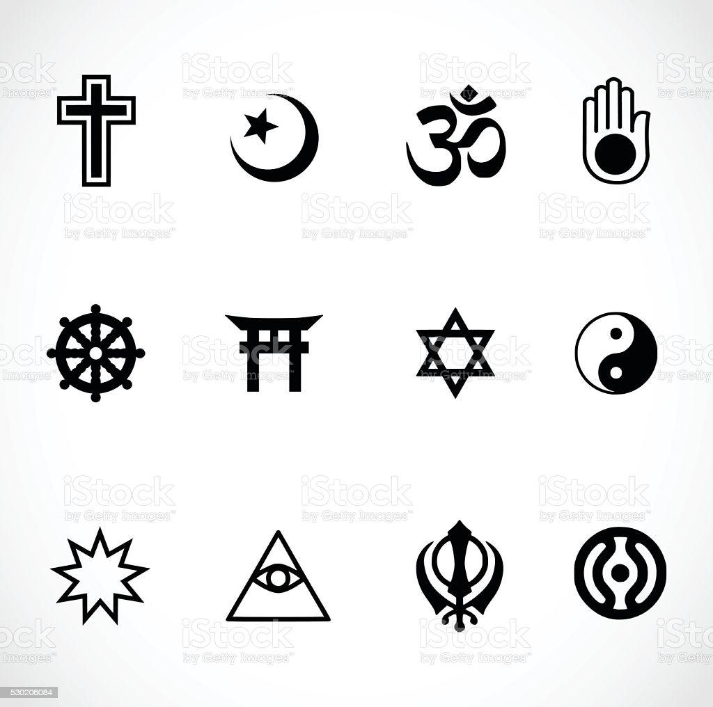 World religions signs icon set vector illustration vector art illustration