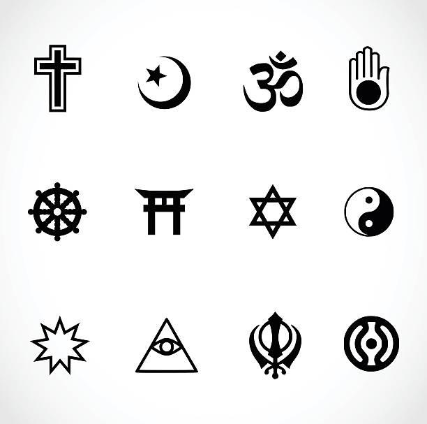 world religions signs icon set vector illustration - religious symbols stock illustrations, clip art, cartoons, & icons
