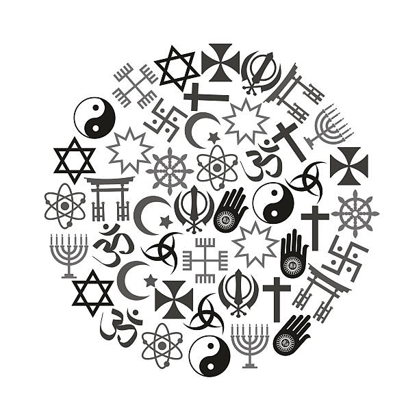 world religions symbols vector set of icons in circle eps10 vector art illustration