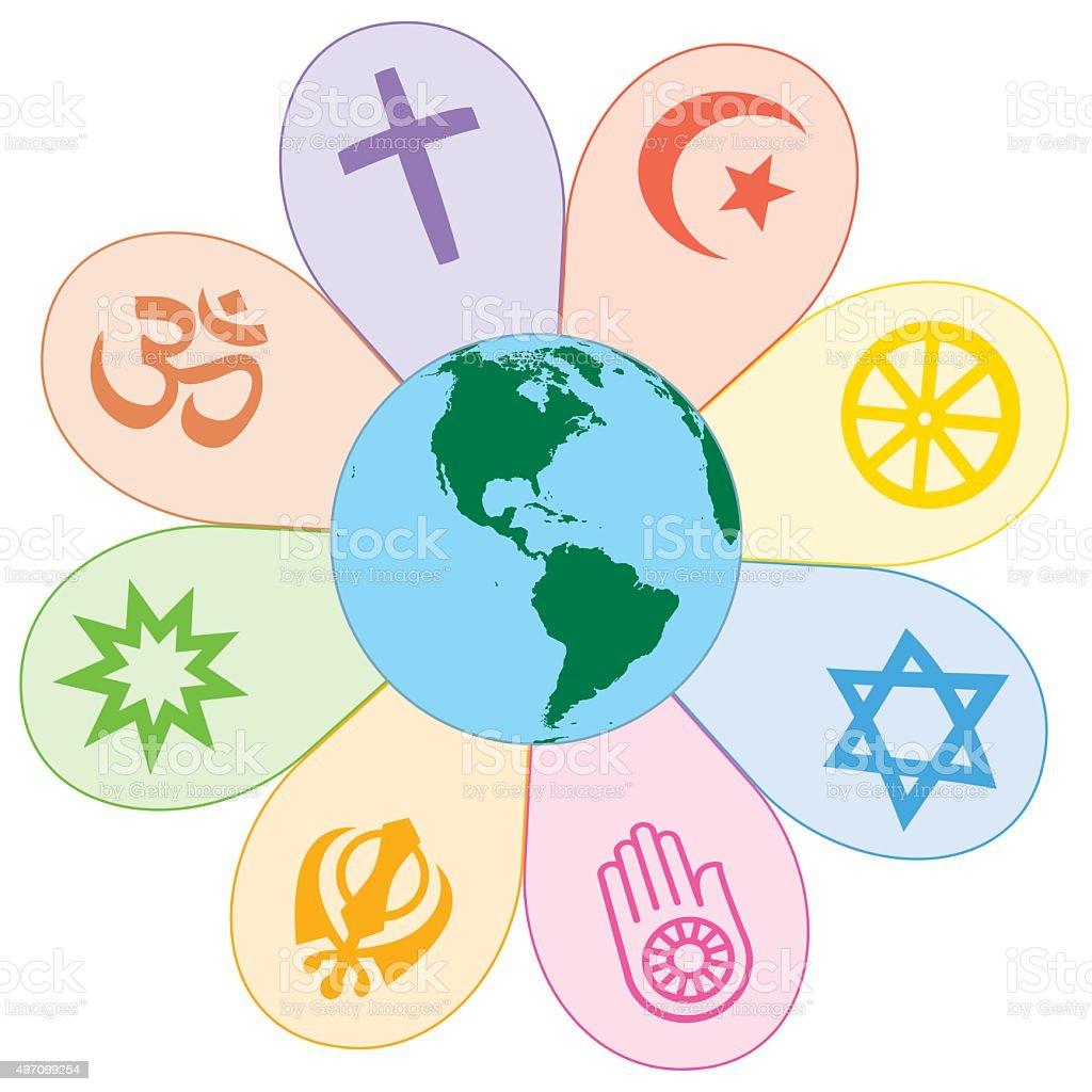 World Religions United Peace Flower Symbol vector art illustration