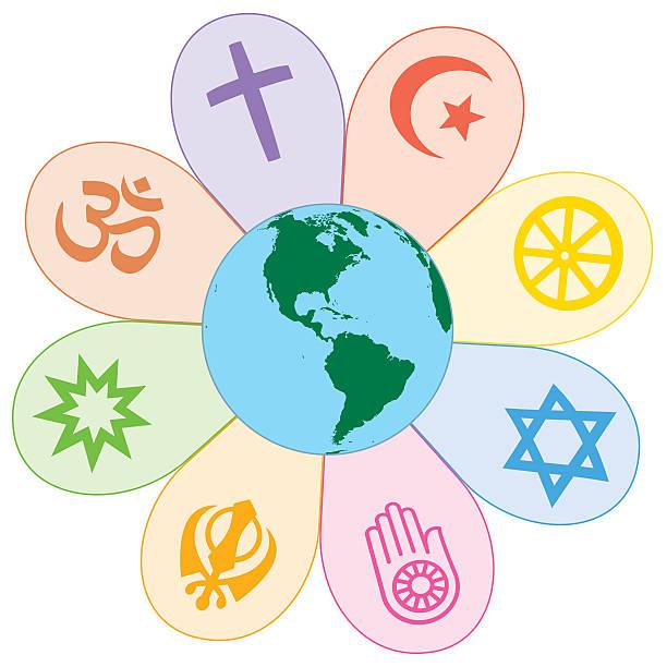 world religions united peace flower symbol - religious symbols stock illustrations, clip art, cartoons, & icons