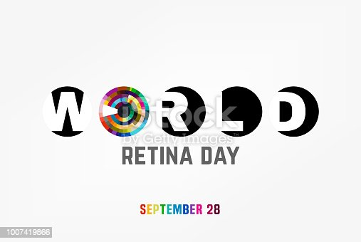 September 28 - world retina day. Logotype or event symbol idea. Editable vector illustration in bright colors isolated on a white background. Medical and healthcare concept in modern style.