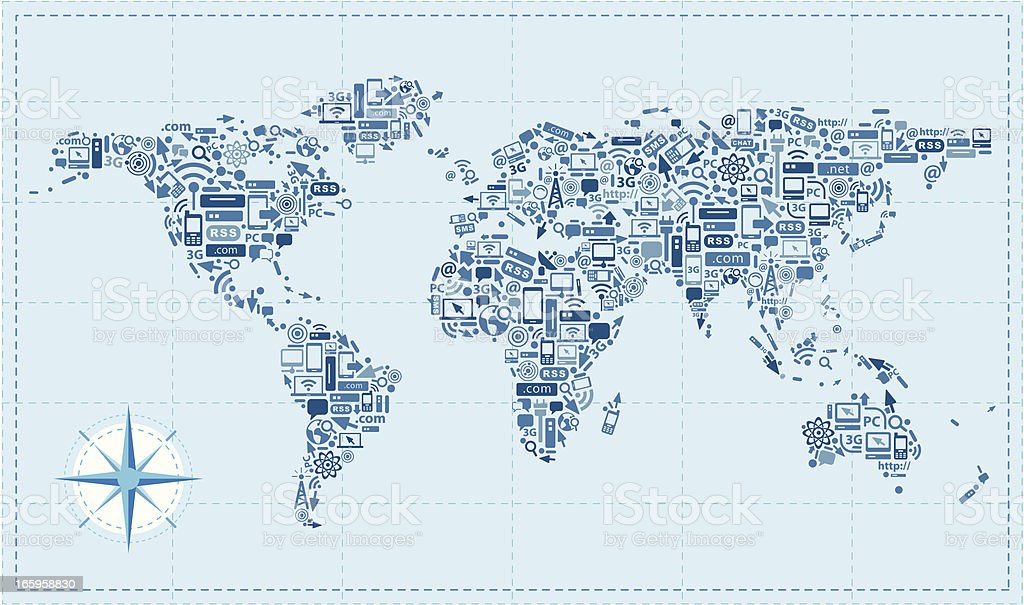 World retro map using technology icons royalty-free stock vector art