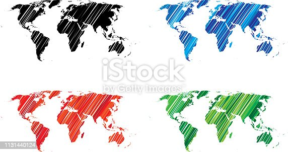 Vector illustration of hand drawn black, blue, red and green world icons.