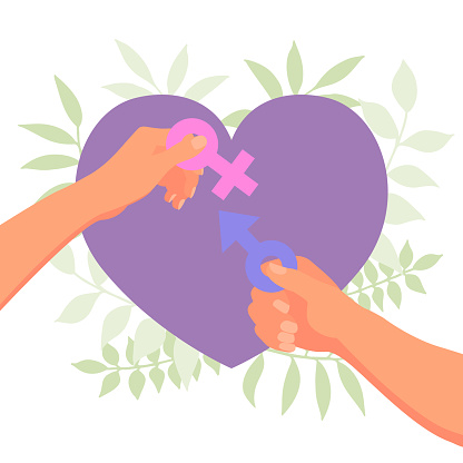 World Sexual Health Day poster concept . Couple hands holding male and female gender symbol with heart background. Vector illustration in flat design style.