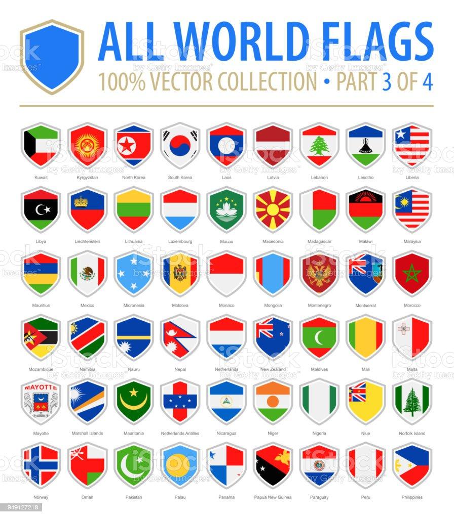 Bandeiras do mundo escudo - Vector Icons planas - parte 3 de 4 - ilustração de arte em vetor