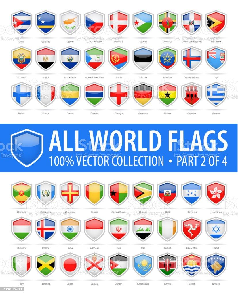 Welt Schild Flaggen - glänzend-Vektor-Icons - Teil 2 von 4 - Lizenzfrei Alphabet Vektorgrafik