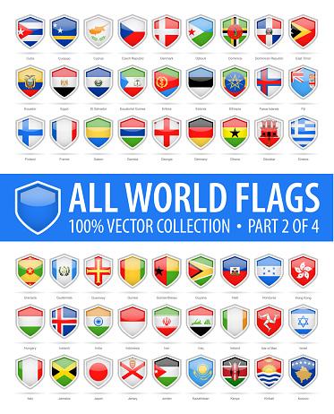 Welt Schild Flaggen Glänzendvektoricons Teil 2 Von 4 Stock Vektor Art und mehr Bilder von Alphabet