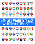 World Shield Flags - Vector Glossy Icons - Part 3 of 4