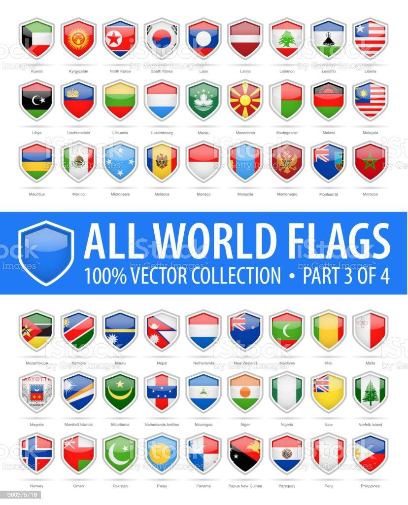 Mundo escudo sinalizadores - Vector Icons lustroso - parte 3 de 4 - ilustração de arte em vetor
