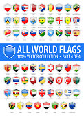 World Shield Flags - Vector Glossy Icons - Part 4 of 4