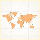 World simple blue orange on white background with grid