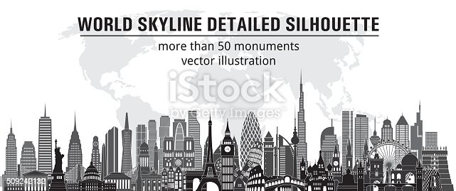 more than 50 monuments.  Vector illustration
