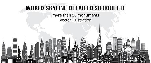 Welt Skyline detaillierte Abbildung. Vektor-illustration – Vektorgrafik