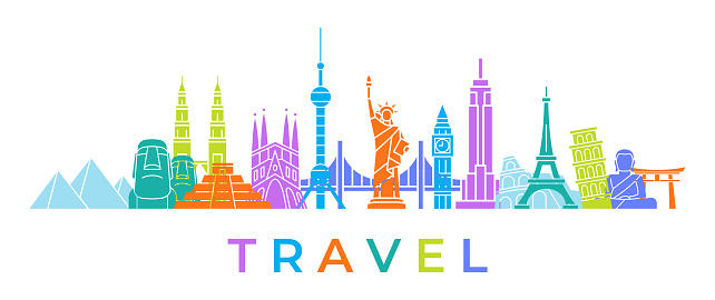 World Skyline - Famous Buildings and Monuments.. Travel Landmark Background. Color Vector Illustration