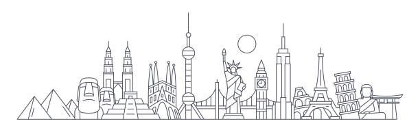bildbanksillustrationer, clip art samt tecknat material och ikoner med världen skyline - berömda byggnader och monument... resa landmark bakgrund. vektorillustration - internationell sevärdhet