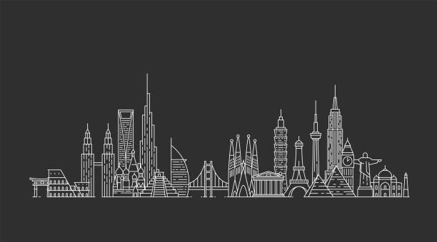 Skyline du monde. Illustations dans le style de contour - Illustration vectorielle