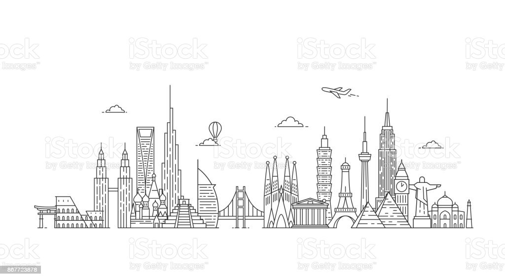 World skyline. Illustations in outline style vector art illustration