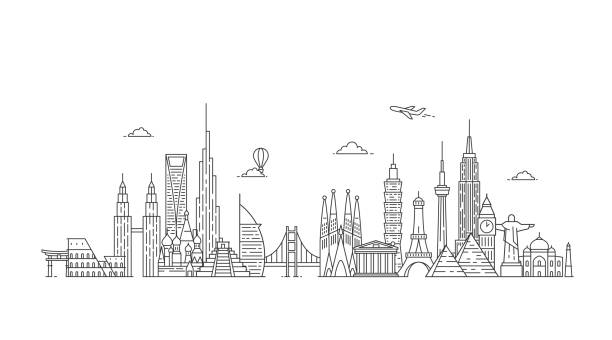 world skyline. illustations in outline style - travel destinations stock illustrations