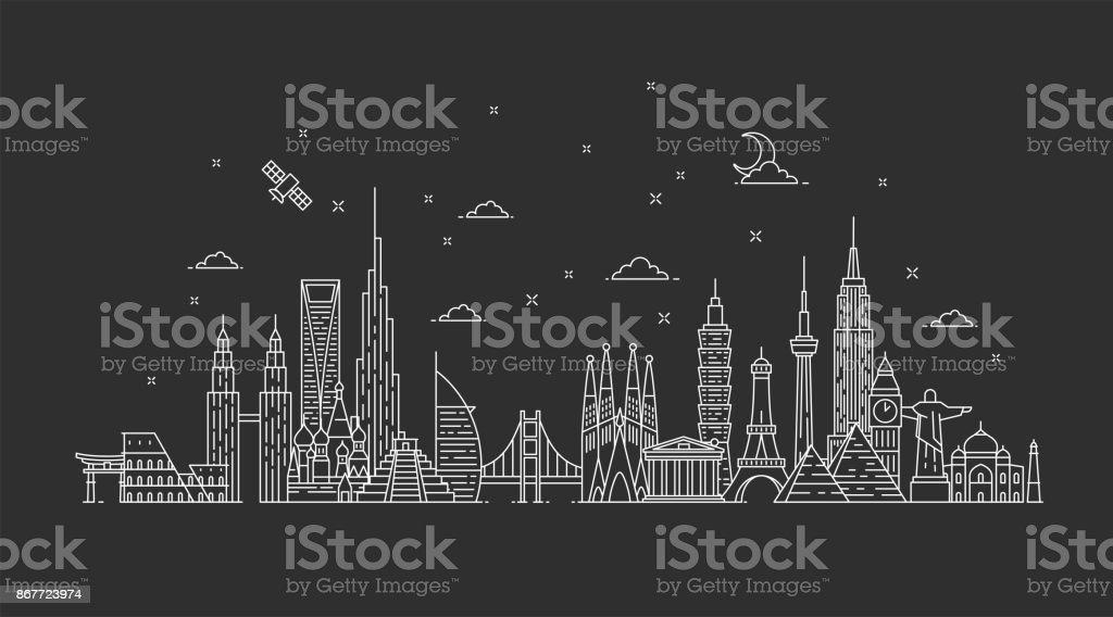 Horizonte del mundo. Ilustraciones en el estilo de contorno - ilustración de arte vectorial