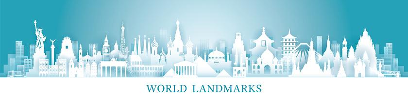World Skyline Landmarks in Paper Cutting Style