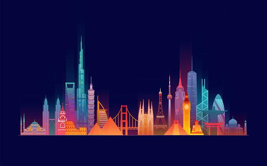 World skyline. Travel and tourism background. Vector flat illustration