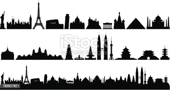 Each building is separate, complete and highly detailed. From left to right: Statue of Liberty (America), the Houses of Parliament and Big Ben (Britain), the Eiffel Tower (France), Colosseum and Leaning Tower of Pisa (Italy), Saint Peter's Basilica (Vatican), Neuschwanstein Castle (Germany), Parthenon (Greece), Saint Basil's Cathedral (Russia), Pyramid (Egypt), the Taj Mahal (India), Grand Palace (Thailand), Angkor Wat (Cambodia), Thien Mu Pagoda (Vietnam), Ulan Danu Bratan Temple (Indonesia), Twin Towers (Malaysia), Oriental Pearl TV Tower (China), Temple of Heaven (China), Namdaemun (Korea), and Asakusa Temple (Japan).