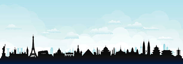 stockillustraties, clipart, cartoons en iconen met world skyline (buildings are detailed, moveable and complete) - monument