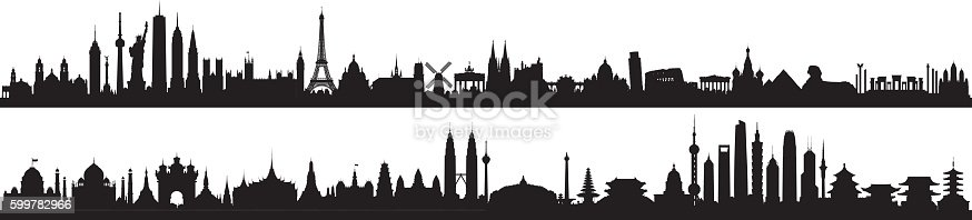 Skyline of world monuments. All buildings are complete, detailed, and moveable.