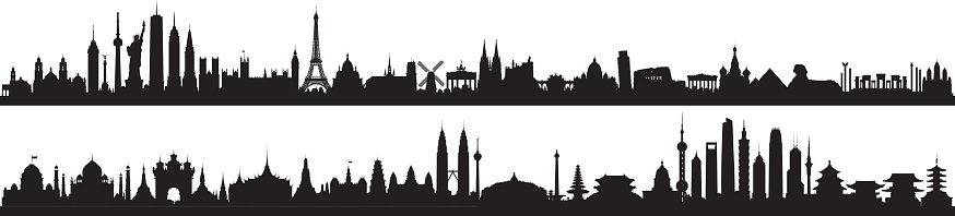 World Skyline (All Buildings Are Detailed, Complete and Moveable)