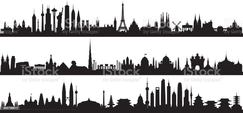World Skyline (All Buildings Are Complete and Moveable) vector art illustration