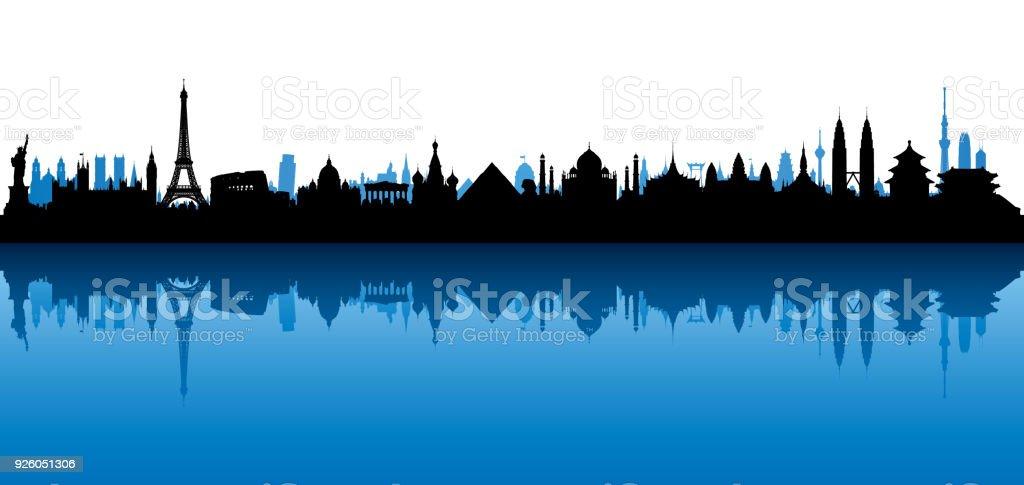 Skyline der Welt (alle Gebäude sind vollständig und beweglich) – Vektorgrafik
