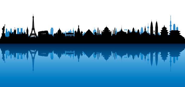 ilustraciones, imágenes clip art, dibujos animados e iconos de stock de horizonte del mundo (todos los edificios son completa y móvil) - viaje a europa