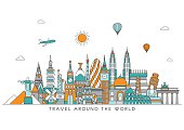 World skyline. Vector line illustration. Line style design