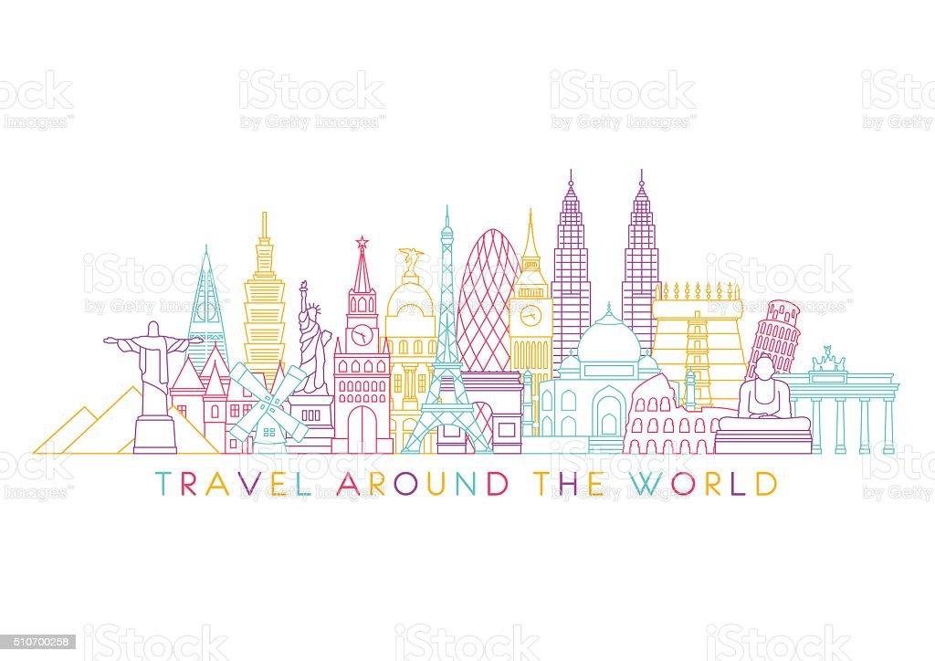 世界の街並みを一望できます。ベクトルラインイラスト。ラインスタイルデザイン ベクターアートイラスト