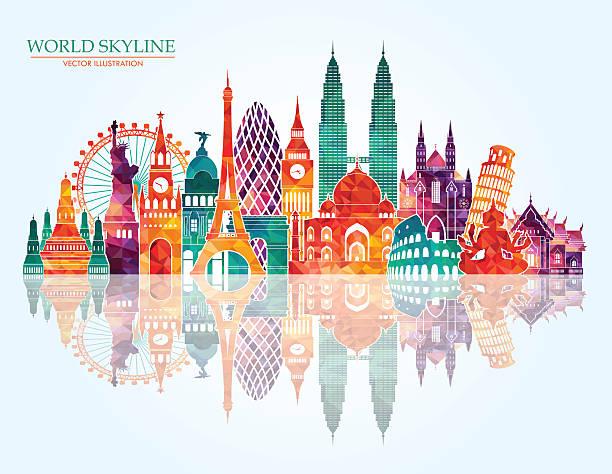 world skyline. vector line illustration. line style design - asia travel stock illustrations, clip art, cartoons, & icons