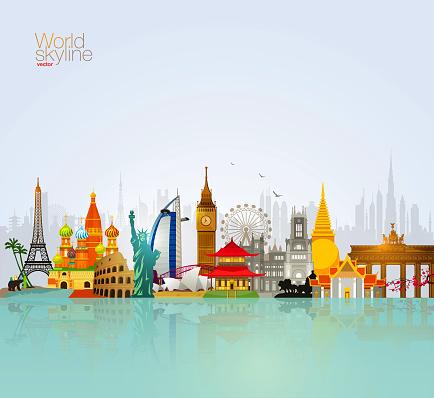 World Skyline Vector Travel Tourism Illustration With Paris Eiffel Tower, London Clock, New York Statue Of Liberty, Tokyo, Bangkok