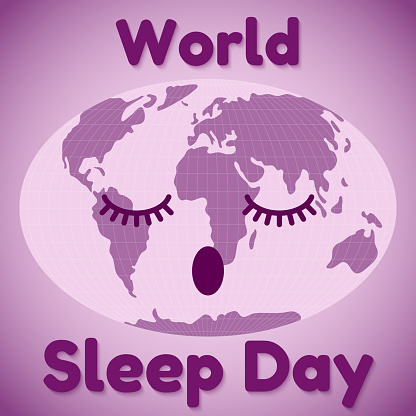 World Sleep Day theme. A sleeping map of the world and resembling an inscription. Greeting card or banner in purple. Vector illustration