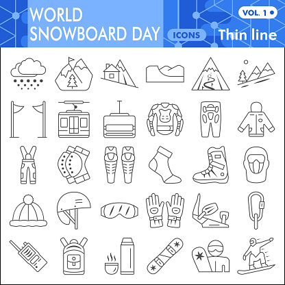 World snowboard day thin line icon set, Winter sports symbols collection or sketches. Snowboarding linear style signs for web and app. Vector graphics isolated on white background.