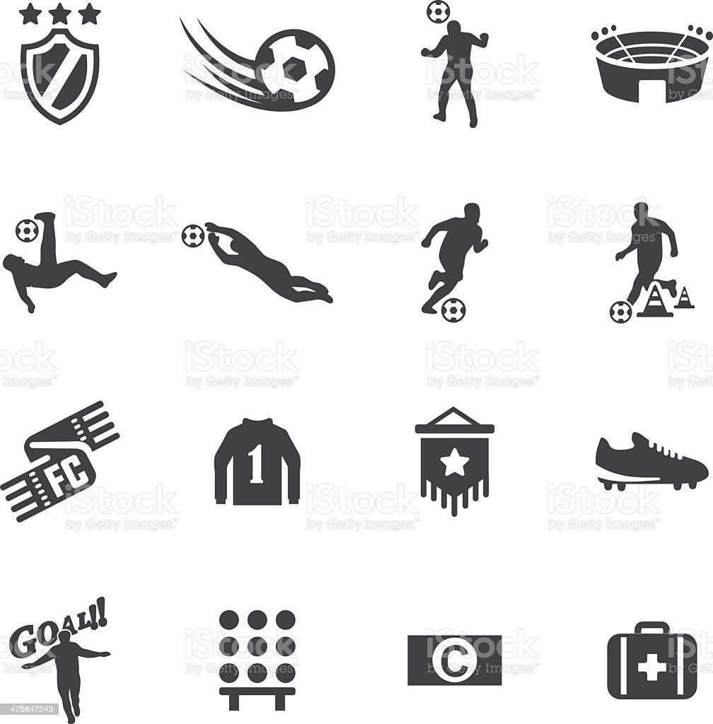 World Soccer Silhouette icons 2 vector art illustration