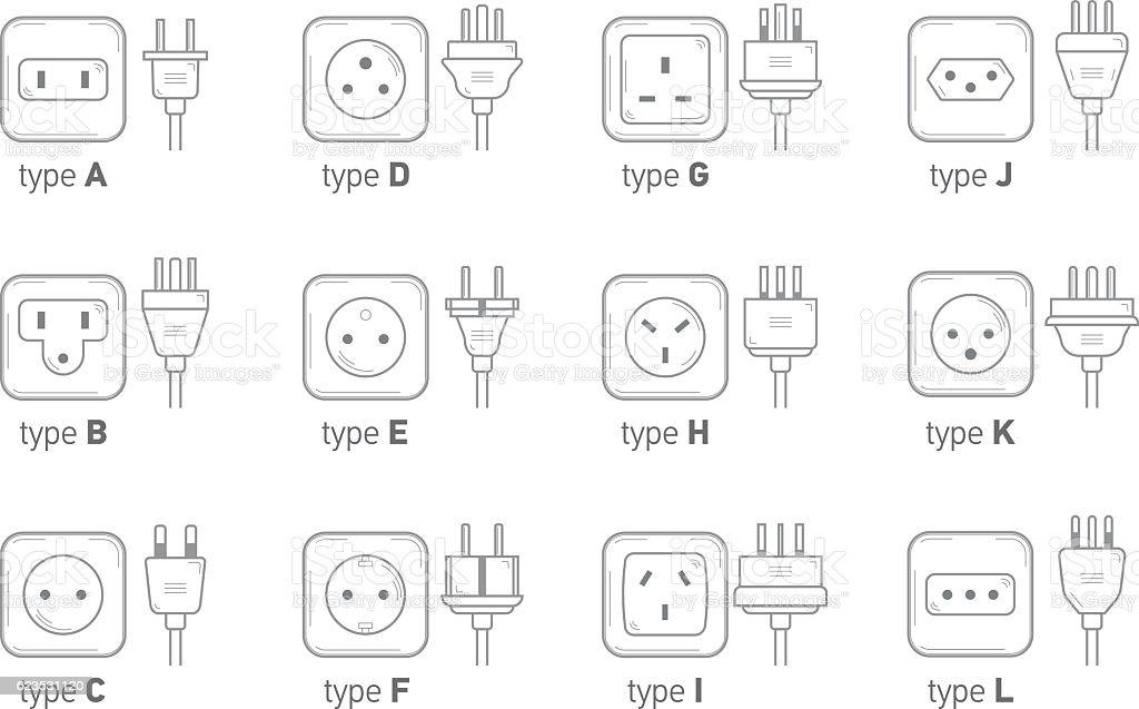 World socket types collection. vector art illustration