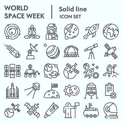 World space week line icon set, outer space set symbols collection, vector sketches, logo illustrations, web signs outline pictograms package isolated on white background, eps 10.