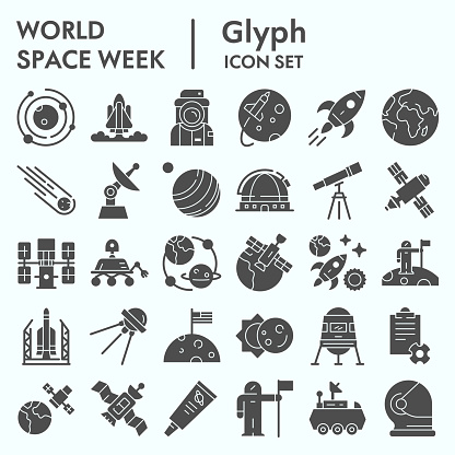 World space week solid icon set, outer space set symbols collection, vector sketches, logo illustrations, web signs glyph pictograms package isolated on white background, eps 10.